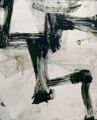 July Series #7, painterly abstract expressionist monotype, black, grey, green.