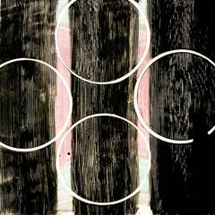 """Effigy 2"", painterly abstract monotype, pink, black and white, circles, strips."