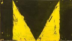 Delta Series, abstract modernist, geometric etching, aquatint, yellow, black.
