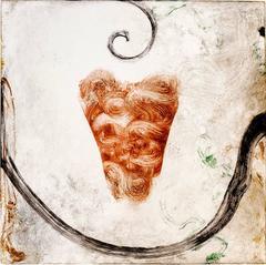 """Cria 18"", Italianate fresco abstract monoprint in sepia, ochre, and sanguine."