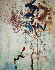 """Landscape #2"", abstract, painterly monoprint, red, blue, violet, umber."