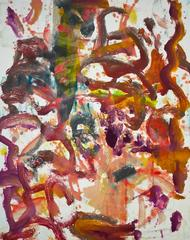 Landscape #3, gestural, abstract, painterly monotype red, violet, blue, yellow