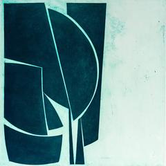 """Cover 1 Viridian"", abstract aquatint print, Mid-century Modern, deep green."
