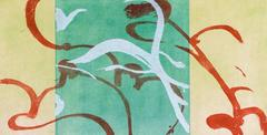 """""""Wind"""", abstract landscape, aquatint, Japanese paper, turquoise, yellow, silver."""