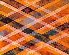 """""""Intersections/Skies 1"""", abstract geometric monoprint, orange, blue, silver."""