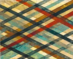 Intersections/Skies 4, abstract geometric monotype, blue, red, sienna, gold grid