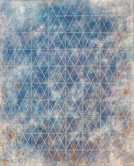 """""""Intersection/Cosmos 17"""", abstract geometric monotype, blue, gold, silver grid."""