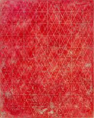 Intersections/Cosmos 18, abstract geometric monotype, red, metallic gold, silver
