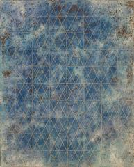 Intersections/Cosmos 20, abstract geometric monotype, blue, copper bronze, gold.