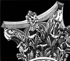 Corinthian Capital 4, classical architectural detail etching, graphic, b+w.