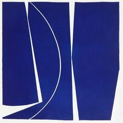 Covers 4 Ultramarine, abstract aquatint, mid-century modern influenced, deepblue