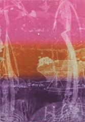 """At Anchor"", abstract seascape  monotype, shades of pink, orange, violet."