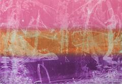 """""""Becalmed"""", sea scape inspired trace monotype, shades of pink, orange, violet."""