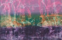 Through The Straits, abstract seascape monotype, pink,orange, turquoise, violet.