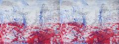 Against Rouge Cardinal, abstract landscape etching, aquatint, blue, red, silver.