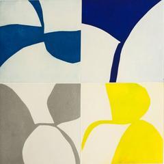 New Alphabet 20, graphic abstract aquatint monotype, blues, silver, lemon yellow