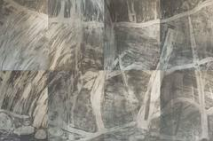 Waterfall Suite/Silver.  Modern etchings of waterfall in aluminum and grey