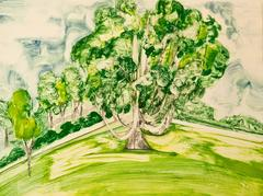 Hyde Park 1, painterly abstract tree monotype, greens, yellows, blue, cream.