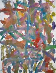 Landscape #6, gestural, abstract, painterly monotype red, green, blue, yellow