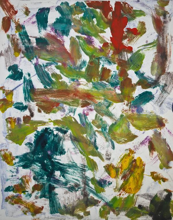 """Landscape #8"", gestural abstract, painterly monoprint red, green, blue, yellow."