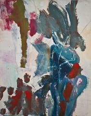 """Landscape #9"", gestural, abstract, monoprint, red, violet, blue, ochre."