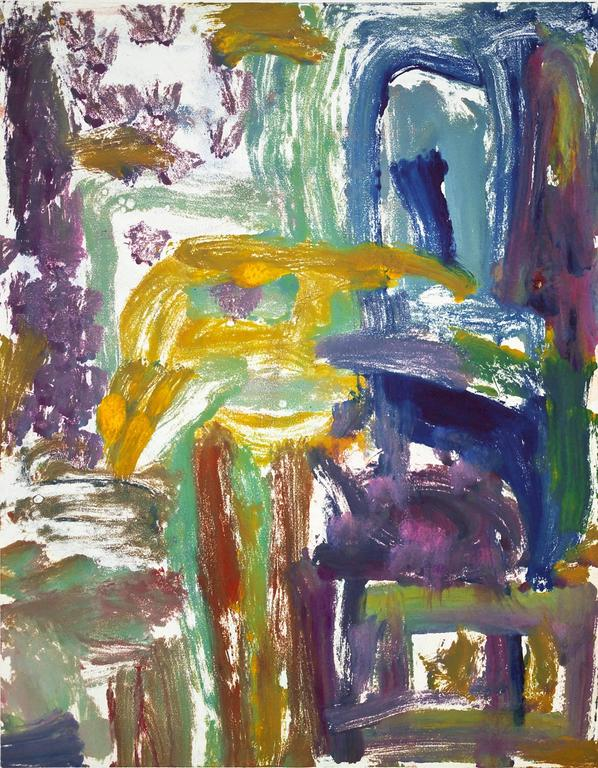 Landscape #10, gestural, abstract,painterly monotype red, violet,  blue, yellow