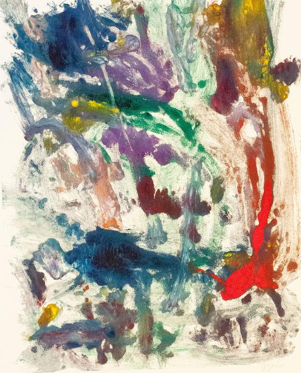 Landscape #24, gestural, abstract,painterly monotype red, green, blue, yellow
