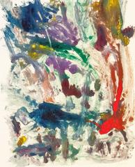 """""""Landscape #24"""", gestural, abstract, painterly monotype red, green, blue, yellow"""