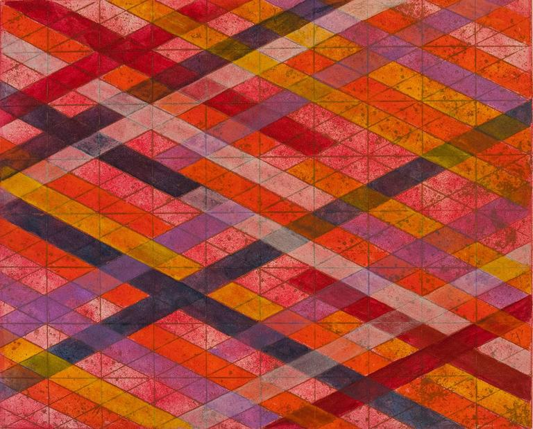Intersections/Skies 11, abstract geometric monoprint, red, yellow, violet, gold.