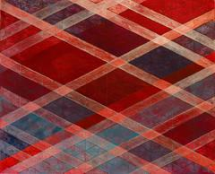 Intersections/Skies 13, abstract geometric monotype, red, orange, silver, blue.