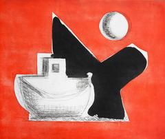 """Red And Black"", abstract seascape etching, aquatint print, Cape Cod."