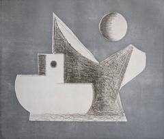 Silver, abstract seascape etching, aquatint, Cape Cod, boats.
