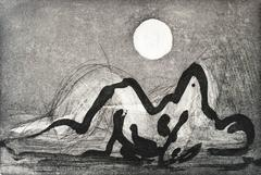 """Sleeping With The Moon"", abstract landscape etching, aquatint print, nude."