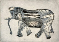 """African Elephant"", wildlife animal etching and aquatint, Paynes gray and black."
