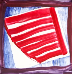 """Effigy 16"", painterly abstract monoprint, violet, red, blue."