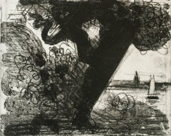 """Ryder's Tree"", seascape aquatint, etching, black and white, Cape Cod."