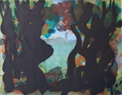 Through The Trees (Evening), abstract seascape color etching, Cape Cod.