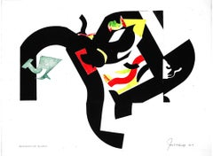"""Murmuring Fondly"", abstract monotype, geometric, black, green, yellow, red."