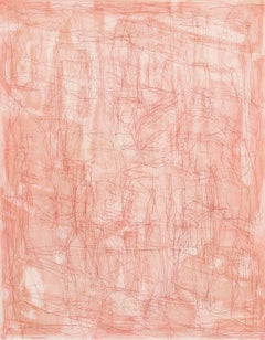 """Otherwhere (Rose Madder)"", abstract linear etching, layered pale pinks, red."