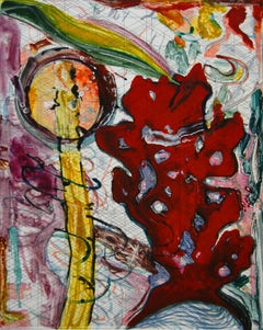 """Scholar Rocks 31"", painterly abstract landscape monotype, red, yellow, violet."