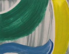 Piscamento #12, gestural abstract monotype, blue, green, yellow, grey.