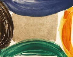 Piscamento #14, gestural abstract monotype, blue, green, orange and black.