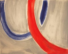Piscamento #17, gestural abstract monotype, blue, red, gray.