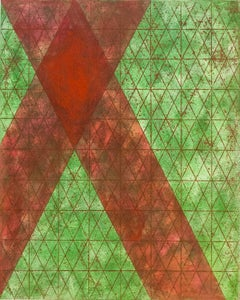 Intersections/Cosmos 13, abstract geometric monotype, green, red, gold grid.
