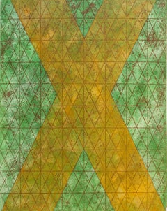 Intersections/Cosmos 9, abstract geometric monotype, greens, yellow, gold grid.