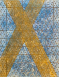 Intersections/ Cosmos 11, abstract geometric monotype, blue, yellow, gold grid.