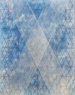 """""""Intersections/Cosmos 12"""", abstract geometric monoprint, blue, silver, gold."""