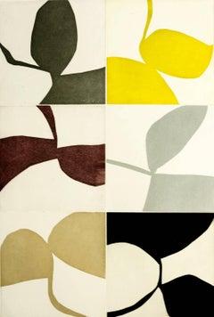 New Alphabet 17, graphic abstract aquatint monotype, earth, grey tones, yellow.