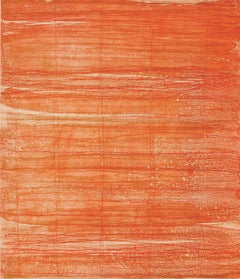Bound Brook #26, painterly abstract aquatint monotype, red, orange, vermillion.