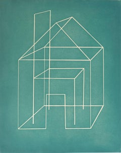 """""""Open House III"""", abstract architectural monoprint, aquatint, turquoise blue."""